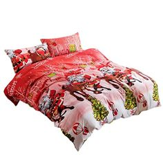 Ikevan 4 Pcs Bed Linen Home Textile Christmas Bedding Set Queen Size Duvet Cover Bed Sheet Pillowcases(1pc Duvet Cover,1pc Flat Sheet and 2pcs Pillowcases) (A) -- Check this awesome product by going to the link at the image.