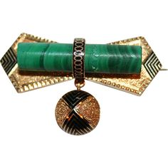 Antique 14kt Gold Brooch, Malachite, American c1840-70