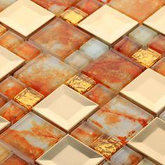 Glass Tile Kitchen Backsplash Designs Orange Mosaic Home Decor