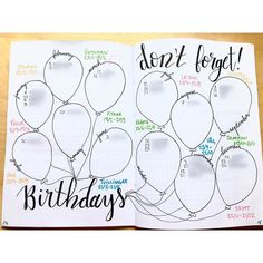 Birthday spread in my bullet journal. I'm awful at remembering birthdays maybe it'll be easier now... #bujo#bujojunkies#bulletjournal#bulletjournaljunkies