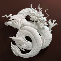 """Jeff Nishinaka's paper dragons. I often feel that Chinese """"dragons"""" are… 3d Paper Art, Paper Artist, Cut Paper, Paper Crafts, Papercut Art, Imperial Dragon, Inspiration Artistique, Dragons, 3d Modelle"""