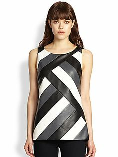 Bailey+44 Digital+Divide+Asymmetrical+Paneled+Faux+Leather-Front+Top