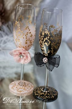 Blush gold black Wedding Champagne glasses & set for от DiAmoreDS