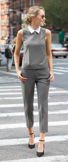 olive green matching set: sleeveless crop top with detachable collar, cuffed crop wool pants + black ankle strap pumps {theory, work wear, suit alternative}