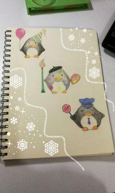 İllüstrasyon penguenler, çizim denemeler