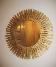 Clothespin mirror! Great idea for laundry room décor.