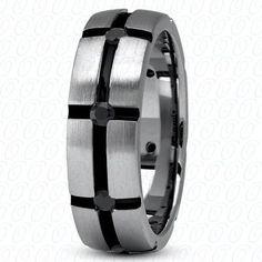Men's Wedding Band Palladium with Black Diamonds by JPoliseno, $1300.00