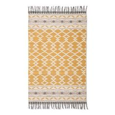 "Yellow Abstract Woven Accent Rug with Gray Fringe (2'6""x4') - Threshold™"