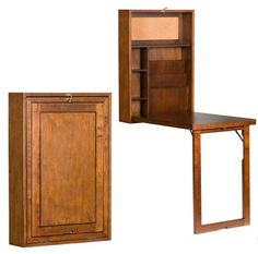 Murphy fold-out desk. Perfect for small spaces! (Would be amazing with a mirrored center! Time Out, Fold Out Desk, Cool Beds, Furniture For Small Spaces, Home Furniture, Space Furniture, Small Living, Home Projects, Woodworking Projects