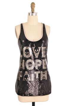 Rue21 Black Sequin Love Hope Faith Tank Size M   ClosetDash #rue21 #black #sequin #graphic #shirt #top #love #hope#faith#clothing #fashion #clothing #style