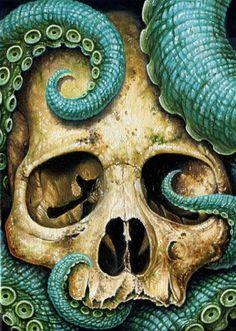Tentacle skull by Voss Fineart (octopus) Illustrations, Illustration Art, Le Kraken, Motif Art Deco, Theme Tattoo, Wale, Skull And Bones, Skull Art, Graphic