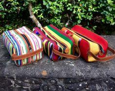 Fresco Fabrics Dopp Kits! 14 Choices! Guatemalan Textiles, Dopp Kit, Handmade Bags, Leather Handle, Fresco, Cosmetic Bag, Suede Leather, Choices, Fabrics