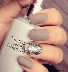 glitter and grey nail art