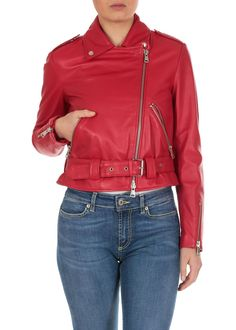 Dondup Leather Biker Jacket In Raspberry Red Red % Extra reduceri ✅ Vezi ofertele Red Leather, Leather Jacket, Red Fashion, Rick Owens, Bikers, Mall, Raspberry, Tory Burch, Outfits