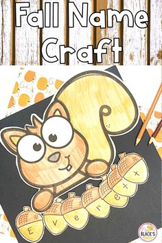 Are you looking for a fun and interactive way for kids to practice spelling his or her name?  This squirrel craft topper with acorns is a precious way for 3 and 4 year olds, homeschoolers, or students in PreK, Preschool or Kindergarten to practice learning their name.  Students will enjoy coloring the craft and then writing 1 letter of his or her name onto each acorn.  Students can also strengthen fine motor skills as they cut and glue the craft pieces together.  This activity is great for… Name Crafts, Crafts To Make, Name Practice, Black Bee, Little Acorns, 4 Year Olds, Fine Motor Skills, Tigger, Spelling