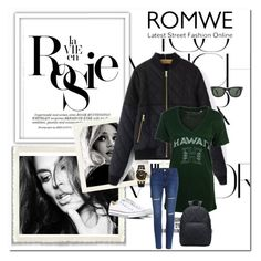 """""""ROMWE"""" by aceboss ❤ liked on Polyvore featuring Rika, Whiteley, Versace, Converse and Ray-Ban"""