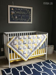 My sweet and talented mother made this lovely quilt for my baby boy. Isn't it great? What I really love about the pattern she created is that it is completely made with half square triangles just like my herringbone quilts. She used the same technique I explain here to make her squares and then just …