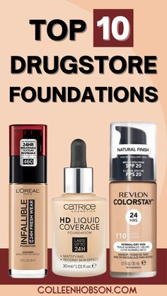 On the hunt for an affordable high performing foundation? Find out which amazing top 10 drugstore foundations are worth the buy. #bestdrugstorefoundation Revlon Colorstay Foundation, Best Drugstore Foundation, Makeup Tips Foundation, Drugstore Makeup Dupes, Moisturizer For Oily Skin, Beauty Balm, Makeup Must Haves, Best Oils, Skincare Routine