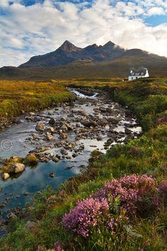 Sligachan . Allt Dearg Cottage in Summer. Isle of Skye. Scotland.