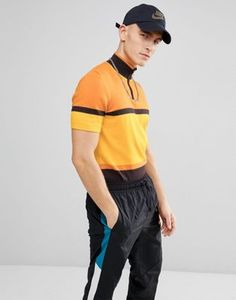 ASOS Half Zip Knitted T-Shirt In Yellow