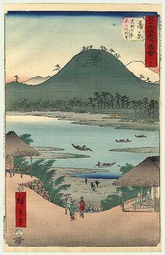 View of the Fuji River from Iwabuchi Hill at Kambara by Hiroshige (1797-1858)