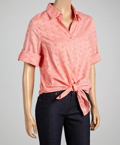 Look what I found on #zulily! Peach Pointelle Button-Up Top #zulilyfinds