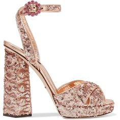 Dolce & Gabbana Sequined leather sandals (3.010 BRL) ❤ liked on Polyvore featuring shoes, sandals, footwear, heels, high heels sandals, high heeled footwear, sequin sandals, strappy block heel sandals and high heel shoes