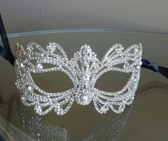 Items similar to Rhinestone Crystal Masquerade Mask- Masquerade Wedding on Etsy Sweet 16 Masquerade, Venetian Masquerade Masks, Masquerade Wedding, Masquerade Theme, Masquerade Ball Party, Masquerade Dresses, Mascarade Mask, Makeup At Home, Silvester Party