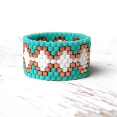 Wide beaded ring Seed bead ring Turquoise ring by HappyBeadwork