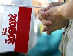 Solidarnosc, a trade union against communist regime in Poland 1989, led by Lech Walesa.