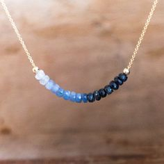 Ombre Sapphire Necklace Blue Sapphire Necklace by AbizaJewelry