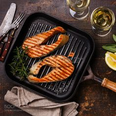 стейки семги by l-i-s-k-a  IFTTT 500px wooden cooked cooking edible fish food fork greens grill grilled lemon pan prepared ro