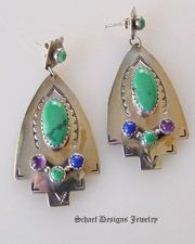 Rudy Willie artist signed malachite amethyst lapis& turquoise post dangle earrings | Native Amercian artist signed Online Upscale Turquoise Jewelry boutique | Schaef Designs Turquoise  Jewelry | San Diego CA