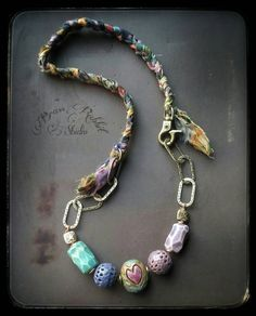 Colorful mixed media necklace bohemian Love Nest