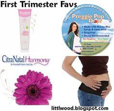 First Trimester Favorites! Mustela Double action stretch mark creme, preggie pop drops, Citranatal Harmony prenatals, Target BeBand