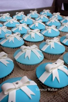 "Kaitlyn- Here's more of your Tiffany theme! Good Idea for the engagement party/bridal shower. ""Tiffany CupCakes by ~Verusca"" Wedding Dress Cupcakes, Bridal Shower Cupcakes, Shower Cakes, Wedding Cake, Tiffany Theme, Tiffany Party, Tiffany Blue, Tiffany Wedding, New Birthday Cake"