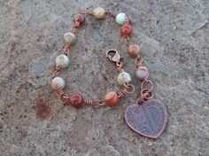 Compassion  Aqua Terra Jasper Gemstone and Copper Bracelet by Angelof2, $24.00 ~ A stone for inner peace, love and compassion, the alignment of the physical and Light bodies, simplicity, clarity, and emotional healing.