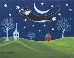 Flying Tuxedo Cat over Folk art Landscape and Crescent Moon Whimsical Folk Art Print by starlustudio2 on Etsy