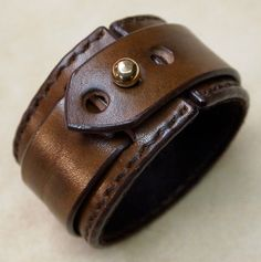 Leather cuff Bracelet Brown hand stitched suede by mataradesign