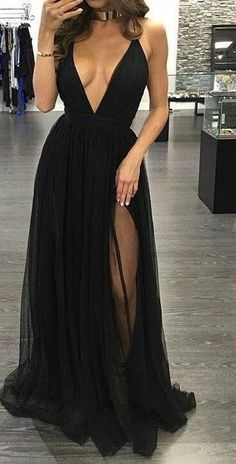 Black Prom Dresses,Prom Prom line Prom Dresses,Evening Gowns,Party Dress,Slit Prom Gown For Teens high heels dress shoes Backless Prom Dresses, A Line Prom Dresses, Tulle Prom Dress, Sexy Dresses, Dress Outfits, Formal Dresses, Dress Shoes, Chiffon Dress, Long Dresses