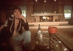 Drummer Keith Moon of the rock and roll band 'The Who' poses for a portrait session at home in November 1974 in Los Angeles, California.