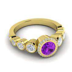 Modern design+gold+amethyst make a perfect engagement ring, right?
