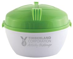Convenient salad bowl with easy snap on lid, matching fork, interior tri-section condiment wheel and dressing container with secure lid. This multi-function product is sure to get daily use! Perfect for…Corporate Wellness Programs, Healthcare Industry & Cause Awareness. Not just perfect for salads! This handy food storage product is ideal for a variety of uses! Bring healthy snacks to work or to the picnic-Salad & Snack Bowl