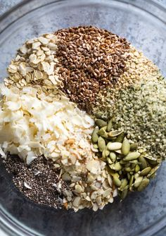 Easy Homemade Granola (with 4 seeds!) - The Kitchen Girl® Granola 4 granola recipes Hemp Seed Recipes, Raw Food Recipes, Healthy Recipes, Freezer Recipes, Oatmeal Recipes, Drink Recipes, Vegan Granola, Healthy Granola Recipe, Homemade Granola Recipe