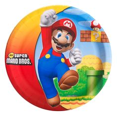 """Super Mario Bros. Dinner Plates - Package includes (8) 9"""" paper dinner plates."""