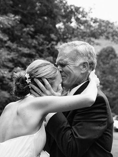 Everybody talks about when the groom first sees the bride, but don't forget a picture of when her father first sees her!