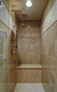 "Shower (3'W x 4'8""D x 8'H) : The bench is approximately 20"" tall. 18"" - 22"" is a comfortable height for most. For retirement age users, the higher bench (22"" or so.) would be more suitable since it makes it easier to sit and stand vs. a deeper seat."