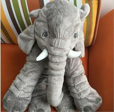 Grey large elephant pillows cushion baby plush toy stuffed animal kids gift
