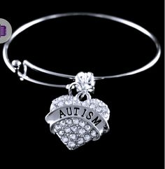 Autism Jewelry Autism awareness bracelet Autism gift Puzzle piece bangle present Autism Awareness Bracelet, Autism Jewelry, Crystal Pendant, Engagement Rings, Crystals, Diamond, Silver, Gifts