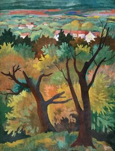 Kádár, Béla View between Trees, early Colourful Art, Window Art, Cubism, Eastern Europe, Ceramic Art, Textile Art, Female Art, Painting & Drawing, Paper Art